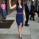 Jennifer Lawrence wore a curve-hugging dress at The Late Show in NYC in May 2011.