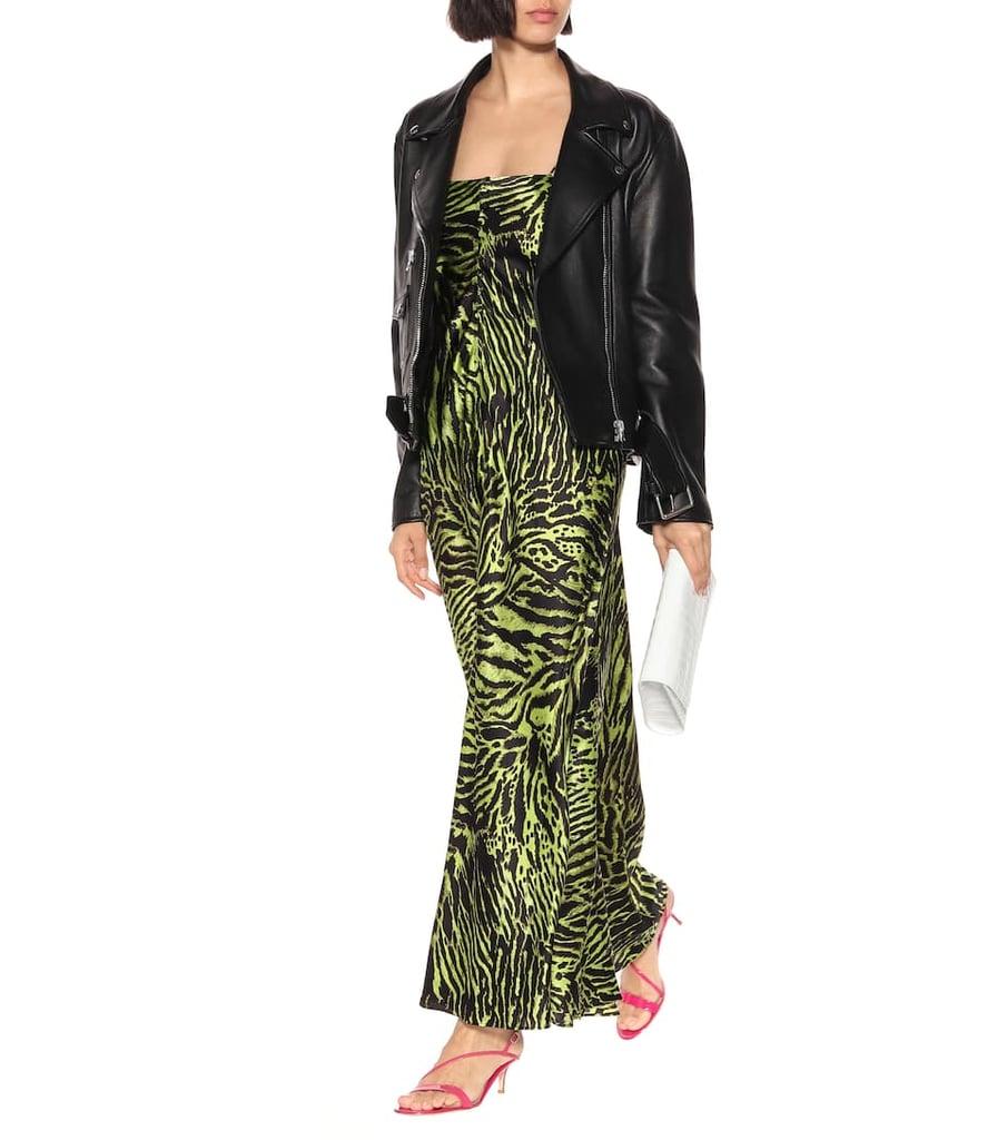 GANNI Tiger-Printed Stretch-Silk Dress ($493)