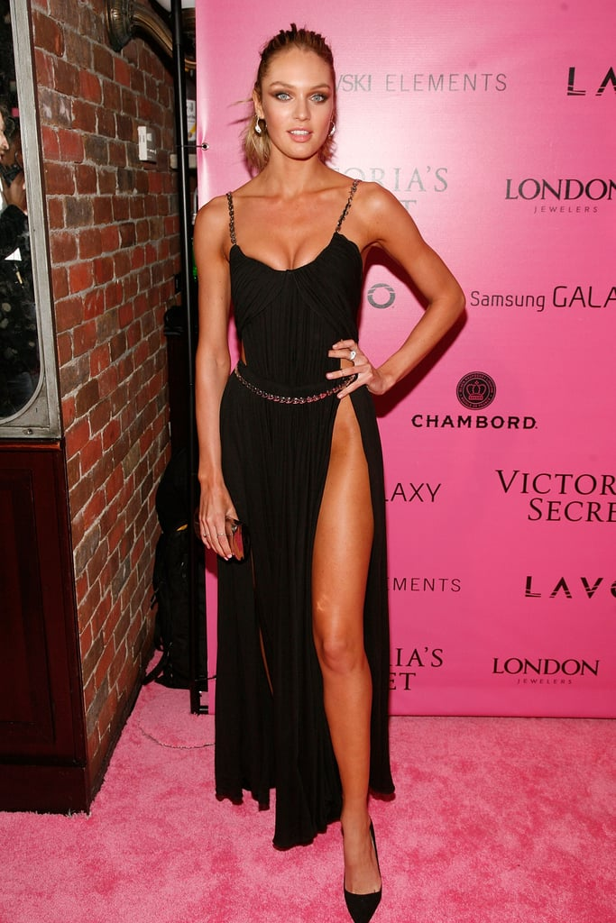 Candice Swanepoel showed off her stems in a thigh-high slit gown.