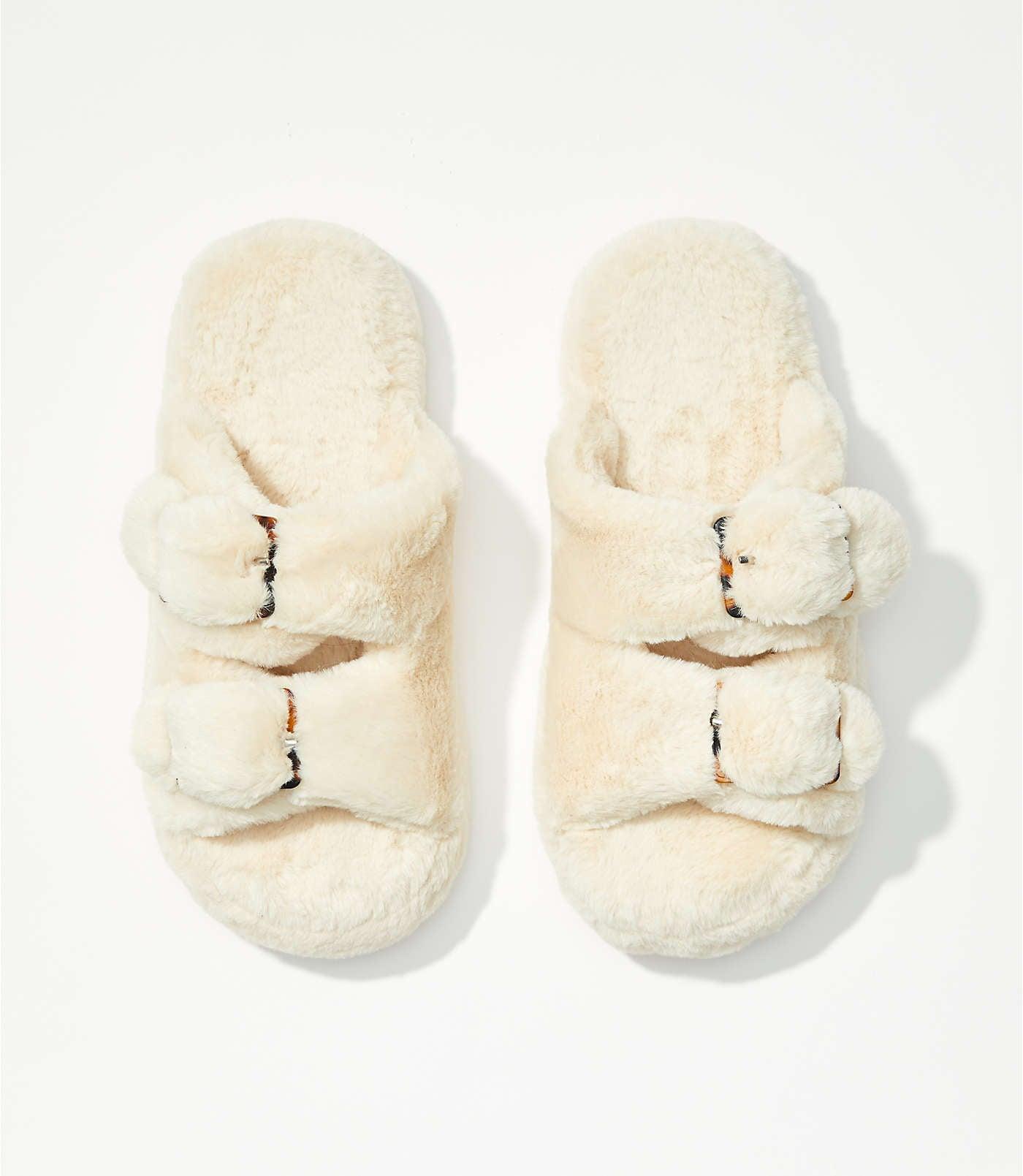 Loft Faux Fur Buckle Slippers   Your