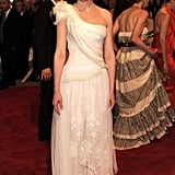 For the 2010 Met Gall, she looked amazing in a white one-shoulder gown by Rodarte For Gap.