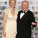 Gwyneth was all smiles with Anthony Hopkins in the press room at the Golden Globes in January 2006 — she awarded the iconic actor with the Cecil B. DeMille award during the ceremony.