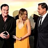 Quentin Tarantino, Margot Robbie, and Leonardo DiCaprio at the Once Upon a Time in Hollywood premiere in Rome.