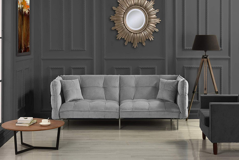 Divano Roma Furniture Modern Plush Tufted Velvet Fabric Futon 6