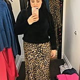 Fuzzy Sweater and Leopard Midi Skirt