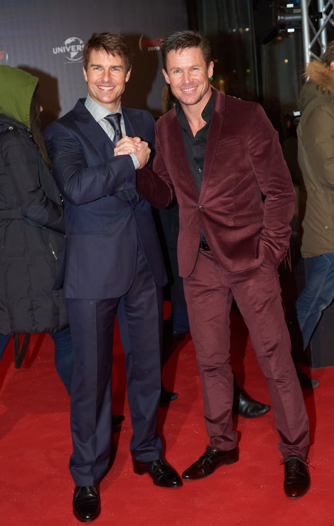 Tom Cruise and Felix Baumgartner shook hands on the red carpet.