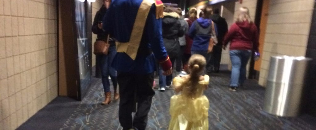 Dad and Daughter Dressed Up For Beauty and the Beast
