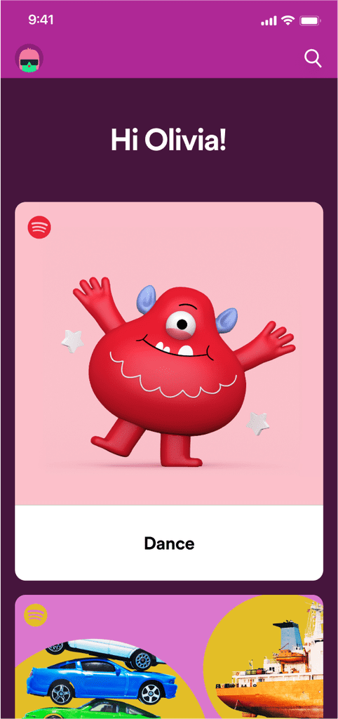 Photos of the Spotify Kids App