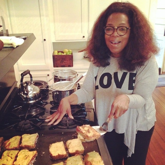 Oprah cooked up a batch of coconut french toast at her house. Source: Instagram user oprah