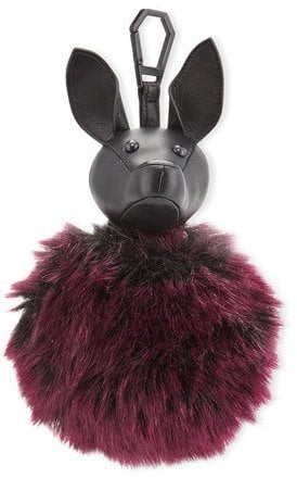 KENDALL + KYLIE Bambi Faux-Fur Dog Charm for Handbag, Black/Red Plum