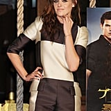 Kristen Stewart wore oversized checks to promote Breaking Dawn — Part 2 in Japan.