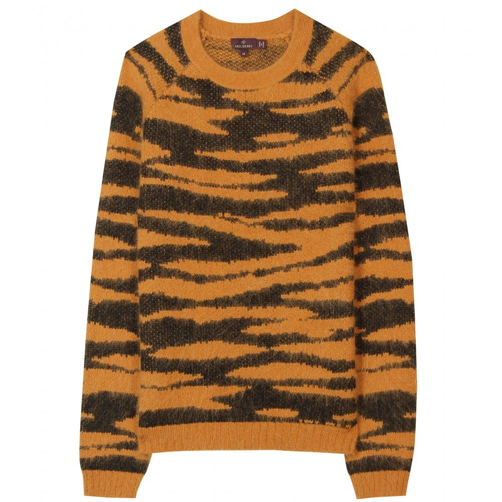 0c91c44343 This tiger-print sweater has a stop-and-stare appeal. Mulberry Animal