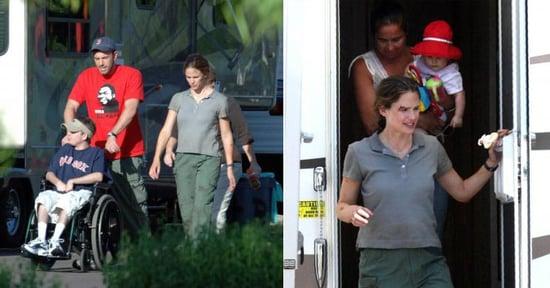 Jen, Ben and Violet On Set