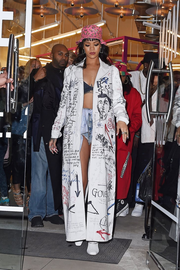 Rihanna S Graffiti Covered Trench Was Basically Her Outfit