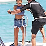 Nicole Richie had help getting back on her yacht in Saint-Tropez.