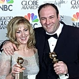 James Gandolfini and Edie Falco couldn't contain their excitement backstage in 2000.