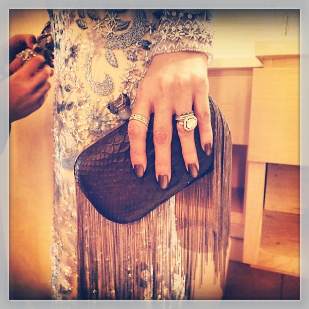 Close-up view of Nicole Richie's Golden Globes look. Like her House of Harlow 1960 fringe clutch? It's new to the collection. Source: Instagram user nicolerichie