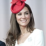 Inspired by Canada and during her North American tour, Kate Middleton donned a Canadian maple-leaf-shaped hat in July 2011.