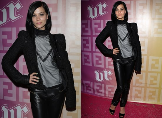 Leigh Lezark at Fendi O Party at Paris Fashion Week in Leather Trousers