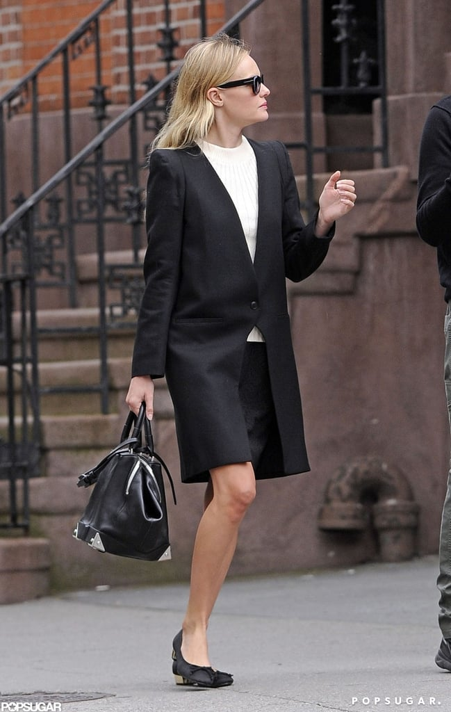Kate Bosworth wore a black overcoat while strolling through the West Village in NYC.