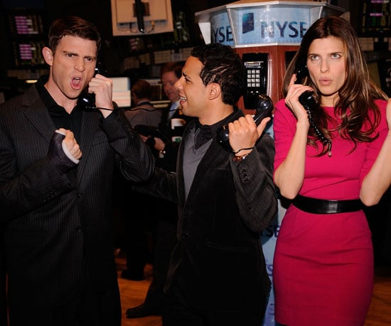 Slide Photo of How to Make It in America's Bryan Greenberg,Victor Rasuk and Lake Bell at NY Stock Exchange