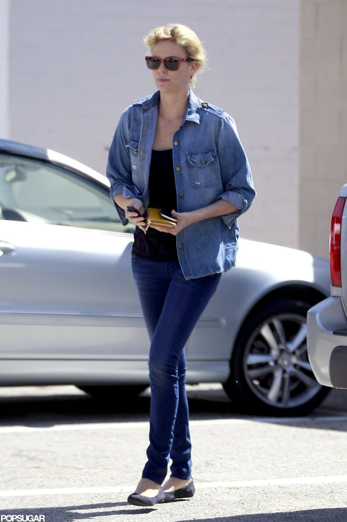 Charlize Theron headed to the salon.