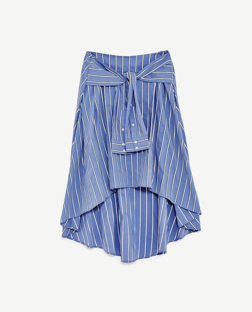 Trade in your mini skirt for a midi option like this Zara poplin piece ($50).