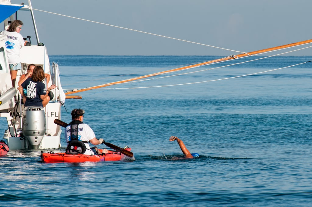 Diana Nyad was accompanied by a 35-person support team for her safety along the way.
