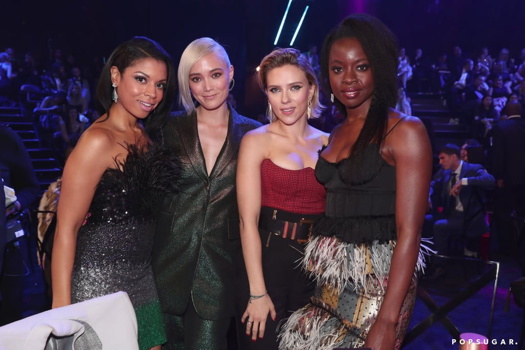 Pictured: Susan Kelechi Watson, Pom Klementieff, Scarlett Johansson, and Danai Gurira