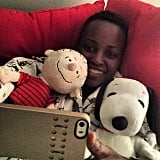 Lupita Nyong'o snapped an adorable selfie with her Peanuts pals. Source: Instagram user lupitanyongo