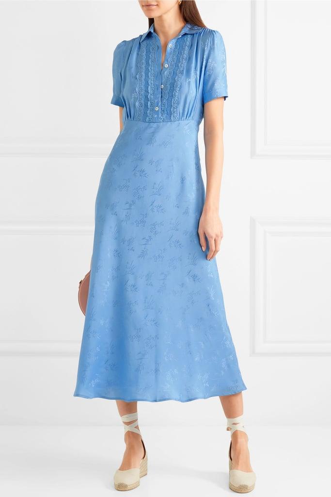 Paul & Joe Julia Lace-trimmed Floral-jacquard Midi Dress