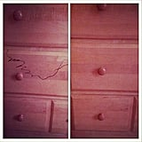 Pen Marks on a Wooden Cabinet