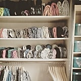 The vertical stacking method should also be used in closets.