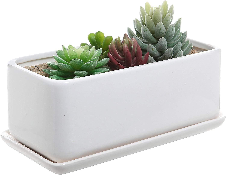 10 Inch Rectangular Modern Minimalist White Ceramic Succulent Planter Pot Under 200 Minimalist Furniture And Decor From Amazon You Ll Love Popsugar Home Photo 3