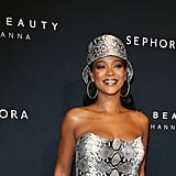 Rihanna Snakeskin Versace Look at Fenty Beauty Event 2018
