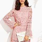 Shein Crochet Pom-Pom Trim Sheer Lace Dress