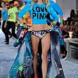 Lindsey Ellingson smiled in bright colors on the catwalk.