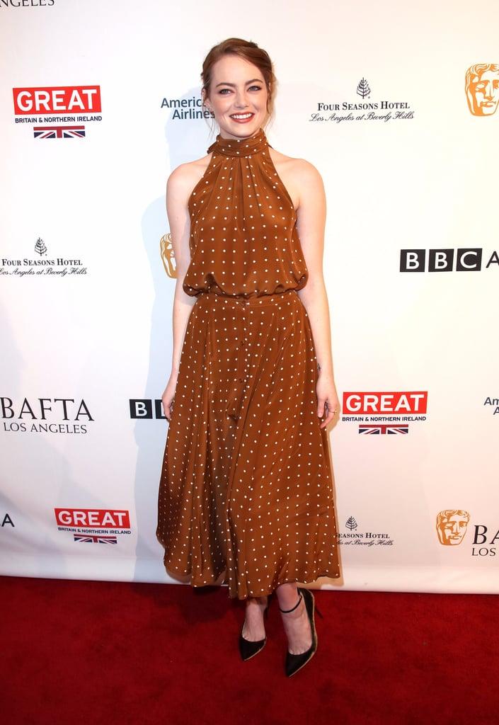 Emma Stone's Polka-Dot Dress at the 2017 BAFTA Tea Party