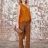 A one-shoulder top with suede flares