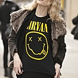 Who says you can't wear beachy waves in Winter? Grunge them up with a Nirvana t-shirt and you're good to go.