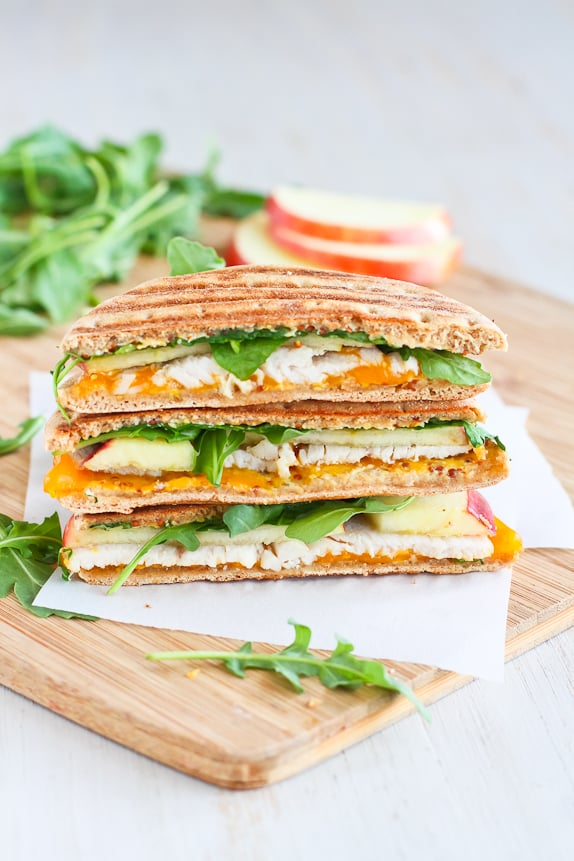 Turkey, Apple, Cheddar, and Arugula Panini