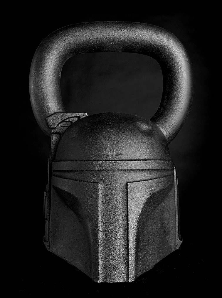 The Boba Fett kettlebell ($150) weighs 50 pounds.