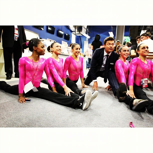 Ryan Seacrest joined the USA's gymnastics team earlier in the week for some light stretches. Source: Instagram user ryanseacrest