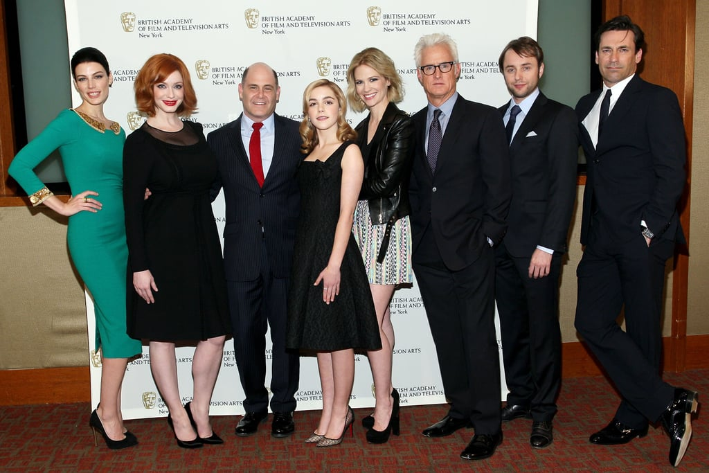 The cast of Mad Men got together last night at The Harvard Club in NYC, where they were celebrated by the British Academy of Film and Television Arts. The show's leading ladies January Jones, Jessica Paré, and Christina Hendricks all chose different looks for the occasion — who gets your best-dressed vote? Jon Hamm, John Slattery, Vincent Kartheiser, and creator Matthew Weiner were also on hand and got together with their costars for a group photo on the red carpet.  It's been a busy few days for the Mad Men actors, who have been making the press rounds in the Big Apple following the season six premiere of their series earlier this month. John Slattery stopped by CBS This Morning yesterday and joked about how Matthew keeps the cast from leaking new scripts, while January sat down for an interview on Late Night With Jimmy Fallon. They'll continue promotions today when they attend a panel at the Paley Center, and we'll be on hand to get the latest.