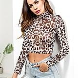 Shein Leopard High Neck Crop Tee