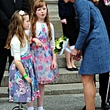 Kate talked to local children during a visit to Council House in Nottingham, England, in June 2012. She accepted a bouquet of flowers from one little girl who had prosthetic metal legs.