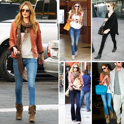 Rosie Huntington-Whiteley Wearing Tan Booties January 2012