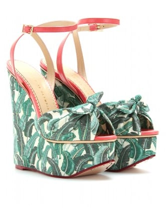 A truly covetable version of the printed wedges with a cool retro-inspired vibe.  Charlotte Olympia Meredith Printed Canvas Platform Wedges ($1,105)
