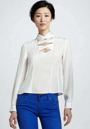 Isn't Nanette Lepore's cutout bow-neck blouse ($278) so chic? We especially adore the subtly sexy cutout detail and the high neck. We envision it coming to life with black wide-leg trousers and a bright-red lip.