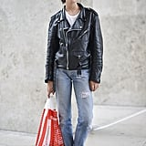 With a Leather Jacket, White Tee, and Light-Wash Denim
